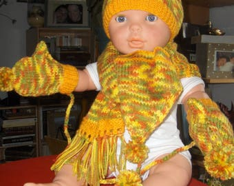 Hat + scarf + mittens with thumb-18 months, multicolored has yellow cast, 100% Acrylic