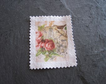 Image transfer, to sew, shabby, clock, bird and flowers