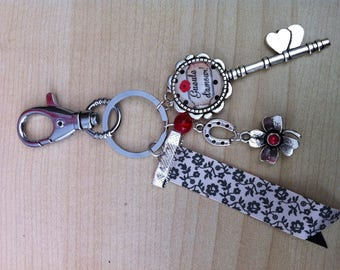 Keychains with charms and key cabochon