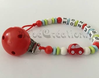 Red car personalized pacifier
