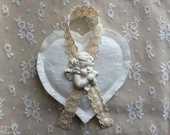 Delicate heart romantic retro: ecru lace and Angel version A