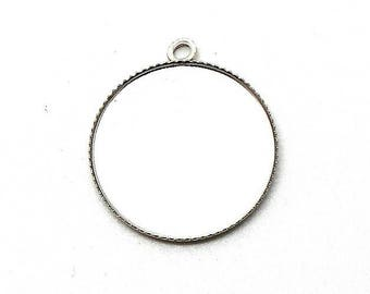 Support cabochon 20mm silver metal