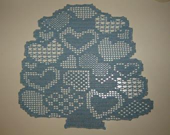 Blue and silver pattern tree heart crochet