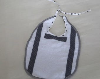 Terry cloth baby bib white