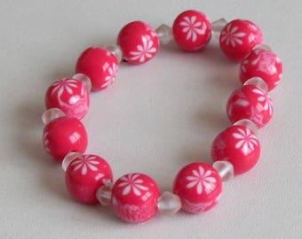 Pink Stretch Bracelet with flowers