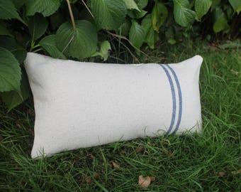 Old blue linen bolster pillow