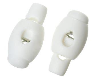 Set of 4 cord stops plastic with spring white 22 mm