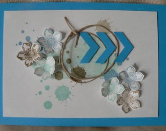 tricolor chevrons and flowers card