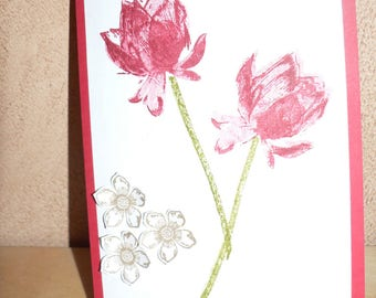 lotus flower and small flowers card