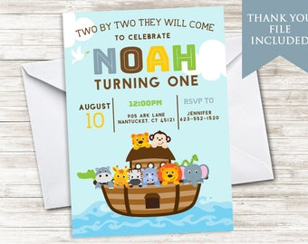 Noah's Ark Invitation Birthday Invite Digital Kids ANY AGE 5x7 Animals Christian Bible Children Party