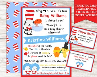 Suess Baby Shower Invite Invitation Digital 5x7 Package Dr. Inspired Nursery Rhyme Storybook Neutral Sprinkle