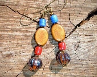 Brazil earrings pearls glass paste and caramel wood red blue