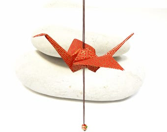 Origami crane decoration hanging orange Peal