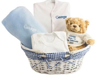 Personalised Blue Baby Basket for baby boys
