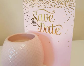Pink and gold save the date cards
