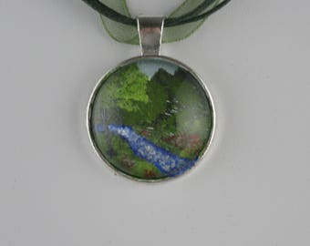 Hand painted Landscape Scene Glass Cabochon in silver plated pendant
