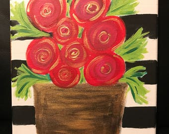 Flowers and Stripes (8X10)