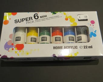 Pack of six bottles of acrylic paint