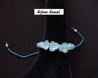 Blue Shambala bracelet with cotton yarn
