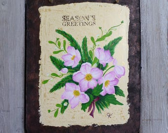 "Decorative painting ""winter roses"", imitation rusty and enamelled metal plate"