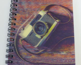 notebook cover vintage 3D camera 3D spiral A6 size