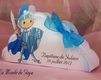 Theme blue Knight for baptism favors box