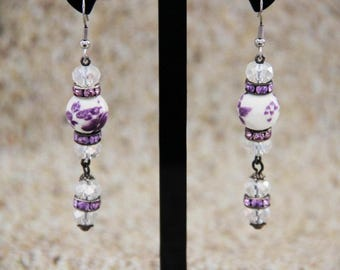 Porcelain purple flower and swarovski crystal Pearl Earrings
