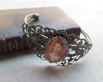 Bracelet color bronze with 25 mm x 18 mm glass cabochon Sacred Heart Jesus