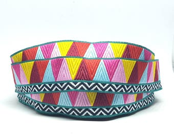 Triangle geometric pattern woven jacquard Ribbon colored - width 25 mm textile design and accessories diy /Sweetchicmercerie