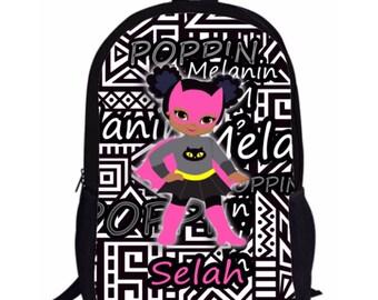 SELAH Style Melanin Poppin' Black Girl Magic Natural Hair Superhero Custom Backpack