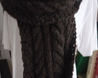 Hand knitted Brown cable scarf