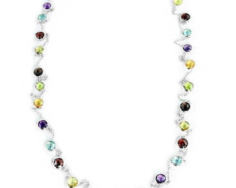 14K White Gold Handmade Station Necklace With 6mm Gemstones By The Yard 36 or 40 Inches