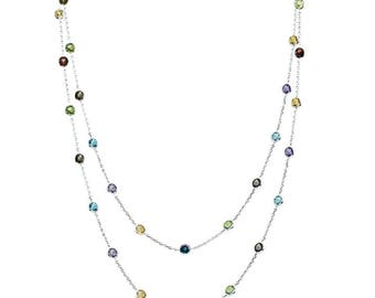 """14K White Gold Handmade Station Necklace With 4 MM Gemstones By The Yard 36"""""""