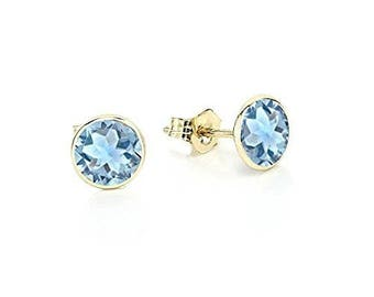 14K Yellow Gold Handmade Gemstone Stud Earrings With 5 MM Round Blue Topaz Gemstones