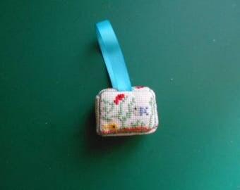 Mini hand - embroidered Lavender sachet aquarium