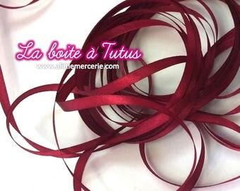 5 m meter of satin ribbon width 6mm ★ red BORDEAUX 500 cm x 0.6 cm wide