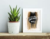 Tree Bandit - raccoon animal giclee print, nursery wall art, cute animal 8X10