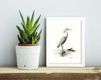 Blue Heron - animal watercolor giclee print, nursery wall art, home decor, cute animals