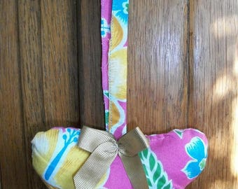Heart to hang Handmade fabric flowers