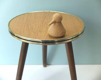 Vintage flower stool light brown kidney-shaped table