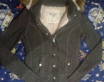Abercrombie Heather Grey Fur Lined