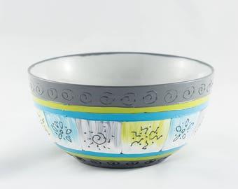 Bowl 65 cl porcelain handpainted colors gradient blue-gray-green white