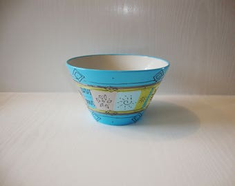 medium size Bowl in sky blue hand painted porcelain