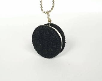 Oreo black - polymer clay necklace pendant