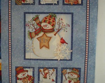 snowman snow quilting Panel