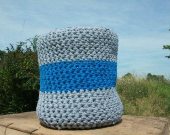 Large Crochet Basket- grey and blue