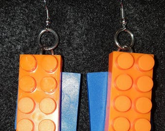 Bright Orange Building Blocks with Primary Blue Square Earrings