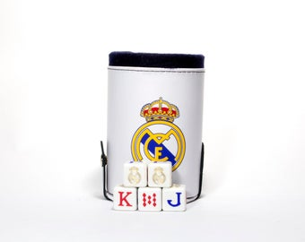 Real Madrid Elegant Dice Cup with Storage Compartment. 5 Engraved Poker Dice