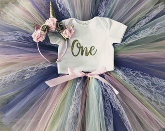 Pastel Unicorn First Birthday Outfit - Baby Girl 1st Birthday Tutu - Pastel Tutu - Rainbow Tutu - Unicorn Party Outfit