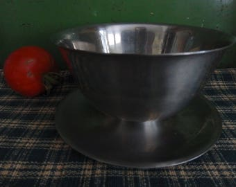 Stainless Steel Serving Bowl with Attached Underplate,Cultura 18-8 Stainless Sweden,Sauce/Gravy/Dip Bowl